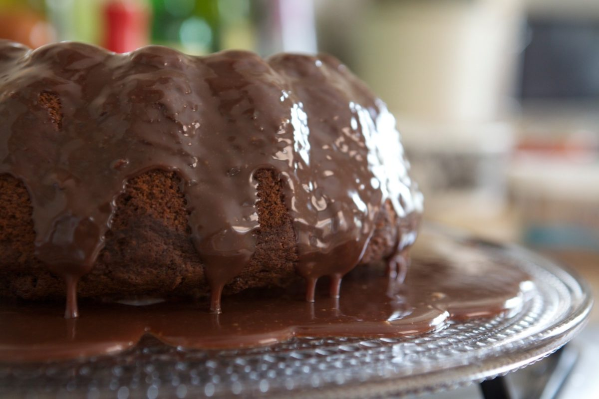 Spiced Cake in a Pool of Chocolate Sauce